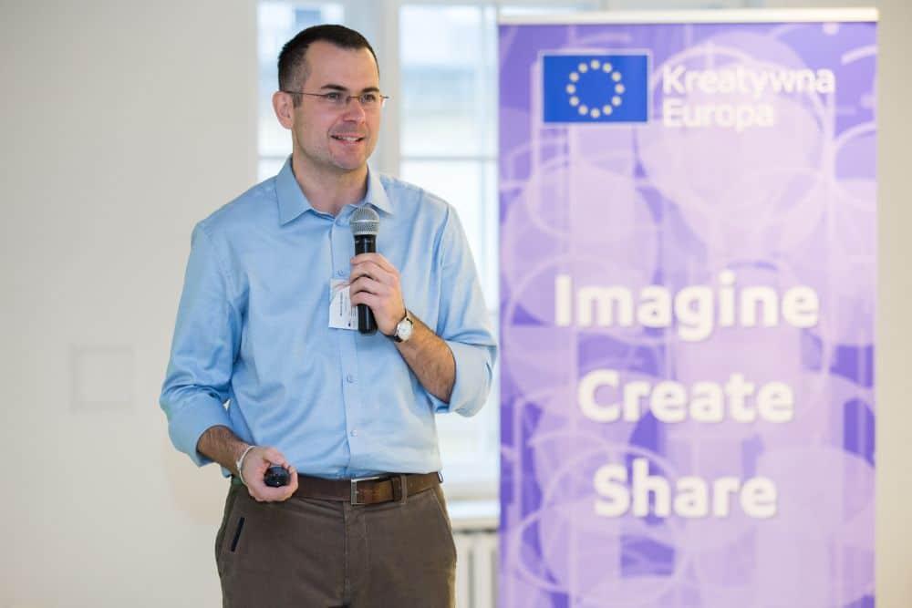 Marcin Skrabka podczas spotkania Kreatywna Europa