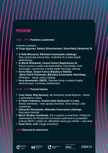 Program konferencji Kierunek e-książka