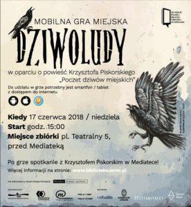 Plakat mobilnej gry miejskiej Dziwoludy