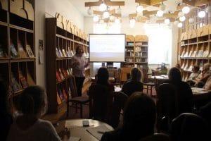 Adam Flamma na konferencji Bibliokreacje