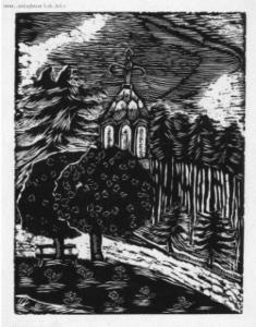 Rycina drzewa i kościół