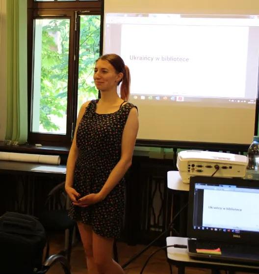 Bożena Korol na szkoleniu Ukraińcy w bibliotece