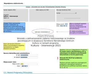 Pierwsza strona i legenda wniosku wzorcowego Kultura-Interwencje