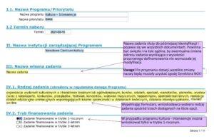 Wniosek wzorcowy Kultura-Interwencje