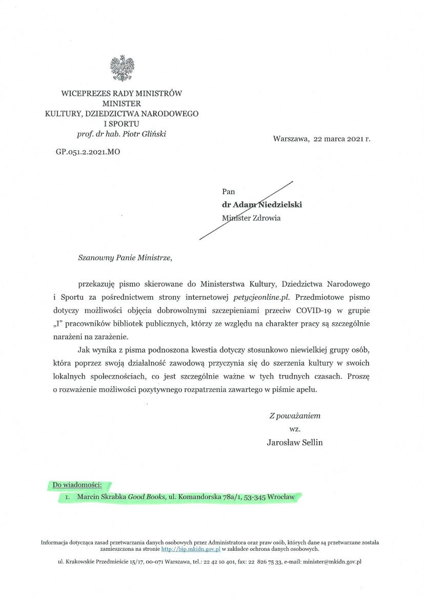 Pismo od Ministerstwa Kultury